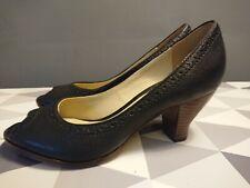 Clarks Womens Black Peeptoe Shoes Size 6 Wooden Heel Smart Work Hardly Worn