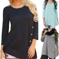 Casual Womens Long Sleeve Loose Blouse Tops Buttons T-Shirt Tunic Crewneck N09