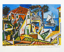 Pablo Picasso MEDITERRANEAN VILLAGE Limited Edition Giclee Estate Signed 13x20