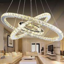 96W Warm Kristall LED Deckenlampe Hängelampe Pendel Kronleuchte Wohnzimmer 3Ring