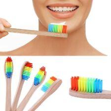 5x Adult Kids Rainbow Bamboo Wood Handle Vengan Toothbrush Soft Medium Bristle
