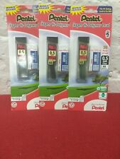 LOT OF 3 Pentel 0.5 mm 30 Refillable Lead Pieces with Eraser