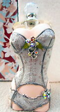 "GLASS PERFUME BOTTLE SILVER ""JEWELLED CORSET"" DESIGN! BEAUTIFUL GIFT! BNIB"