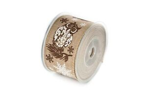 Wire Edged Ribbon 60mm Owl Christmas, Faux Burlap Jute sold by the metre.