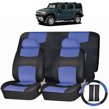 PU LEATHER BLUE & BLACK SEAT COVERS 11PC SET for HUMMER H1 H2 H3