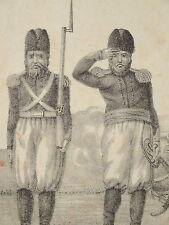 RARE Litho COSTUME UNIFORME ARMEE PERSE IRAN PERSIA ARTILLERIE DROMADAIRE 1830