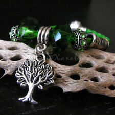 Green Leather Enchanted Forest European Charm Bracelet With Tree Of Life Charm