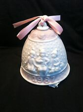 Vintage Lladro 1987 Bisque Porcelain Christmas Bell Ornament Embossed Pink
