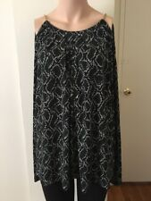 Michael Kors Women Real Navy Cold-Shoulder Chain Tie-Neck Top NWT Size 2X
