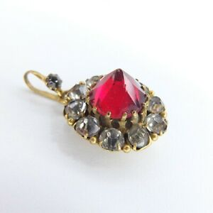 Antique Gilt Diamond & Ruby Paste Pendant Victorian Puffy Paste Pendant & Bale