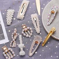 Women Girls Gold Silver Pearl Flower Hairpin Hair Clip Hair Accessories Gifts