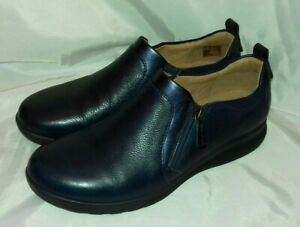 Clarks Unstructured Navy Blue Shoes  Leather Comfort Slip On Side Zip Size UK 9D