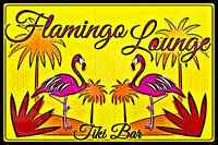 FLAMINGO LOUNGE MADE IN USA METAL SIGN 8X12 LUAU BAR PUB HAPPY HOUR MARTINI