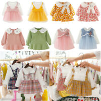 Kids Baby Girls Splicing Bowknot Dress Long Sleeve Princess Party Tutu Dress Lot