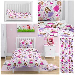 PINK FAIRIES Princess Girl Bedding Set Curtains Cot/Cot bed Baby & Toddler