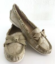 NEW Coach Womens SZ 8 Carisa Logo Signature Jacquard Loafer Flats Boat Shoes