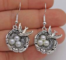 """925 Silver Plated Hook -1.7"""" Swallow Bird Nest  Eggs Women Party Earrings #61"""