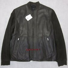 VM Vince Leather Suede Men Bomber Jacket With Quilted Sleeve Size M 095