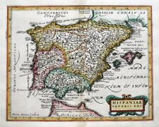 SPAIN, Van Den Keere, Cluver, Jansson original antique map 1661