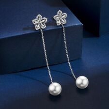 18K White Gold Plated Diamond Flower Pearl Drop Double Sided/Jacket Earrings
