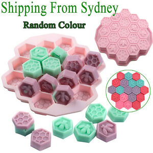 19 Cell Silicone Bee Honeycomb Cake Mould Chocolate Soap Candle Bakeware Mold AU