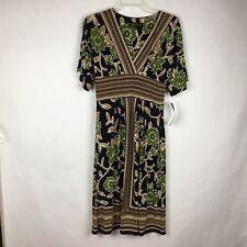 Jones New York Women Dress Size 4 Floral Geometric Empire A-line S/S Stretch NWT
