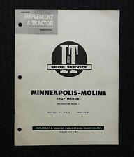 """1955 Minneapolis Moline Uni-Tractor Model """"L"""" I & T Shop Service Repair Manual"""