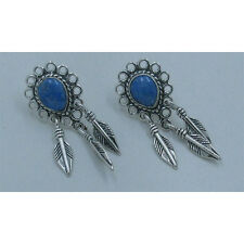 QVC .925 Sterling Silver Natural Blue Denim Lapis Feather Dangle Earrings