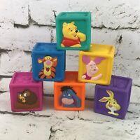 Vintage 90's Disney Winnie The Pooh Rubber Squeaky Blocks Lot Of 6 Piglet Tigger