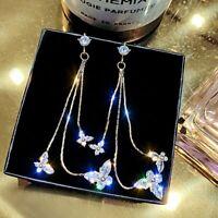 Shiny Three Butterfly Crystal Long Tassel Stud Earrings Dangle Drop Jewelry Gift