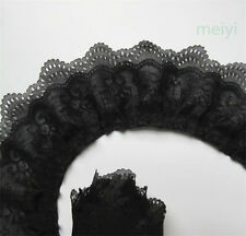 5 yard 3-layer Pleated Organza Lace Edge Trim Gathered Mesh Chiffon Ribbon Black
