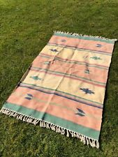 Vintage Mexican Aztec Style Pastel Coloured Rug