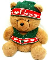 Eden Brown Teddy Bear Green Christmas Beanie Vest Soft Plush Stuffed Toy 42CM