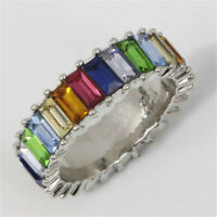 Rainbow ring thin line micro pave cz eternity 9 colors stack Flawless Party