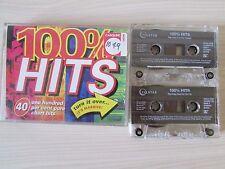 100% HITS TWIN CASSETTE SET, 1994 TELSTAR, VARIOUS ORIGINAL ARTISTS, TESTED.