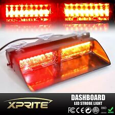 16 LED 18W Windshield Emergency Flash Strobe Light For Interior Dash Amber Red