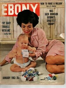 "EBONY magazine January 1963 ""Eartha Kitt"" Jack Johnson HBCU Tougaloo College VTG"