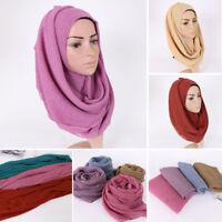 Muslim Women Hijab Plain Crinkle Maxi Long Scarf Scarves Shawls Stole Head Wrap