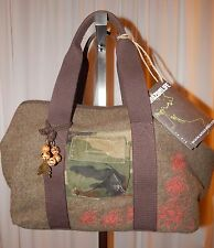 NEW Italy Braccialini Amazon Life, Green Wool & Cotton Handbag Purse, Dust Bag