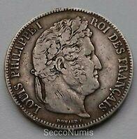 France. Louis Philippe I 5 Francs 1835 T Nantes RARE