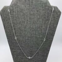 """Long 30"""" Silver Tone AVON Chain Necklace Clear Faceted Beads Great Condition"""