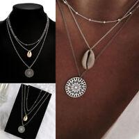 Bohemian Shell Pendant 3-Layer Necklace Jewelry Beach Thin Chain Choker Gifts