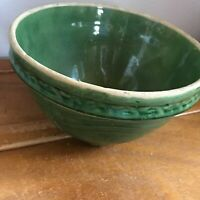 Antique Green Glazed Arts & Craft Style Pottery Mixing Serving Bowl  – 6 inches