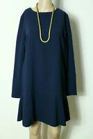 MANGO Kleid Gr. S dunkel-blau kurz/mini Langarm Hüft Kleid
