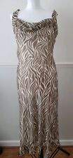 Bhs Ladies Sleeveless Brown Cream Long Occasion Party Evening Dress UK 12 EUR 40