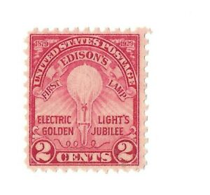 UNITED STATES # 655 MINT 1929 2 CENT EDISON' FIRST LAMP