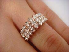 !GORGEOUS 14K ROSE GOLD 1.25 CARAT DIAMOND 3 ROW PYRAMID LADIES RING SIZE 6