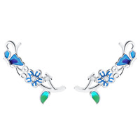 925 Sterling Silver CZ Flower Blue Butterfly Cuff Post Climber Crawler Earrings