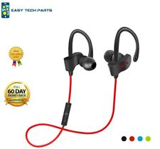 Red Bluetooth Earphone Headset Headphones Wireless Sweatproof Sport Gym Mic UK