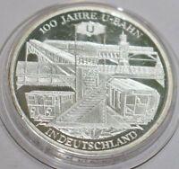 10 EURO Deutschland BRD 100 Jahre U-Bahn in Deutschland Silbermünze Silver 2002